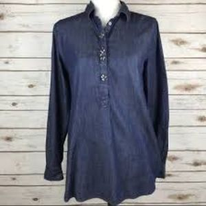 Ann Taylor LOFT Chambray Jeweled Beaded Tunic